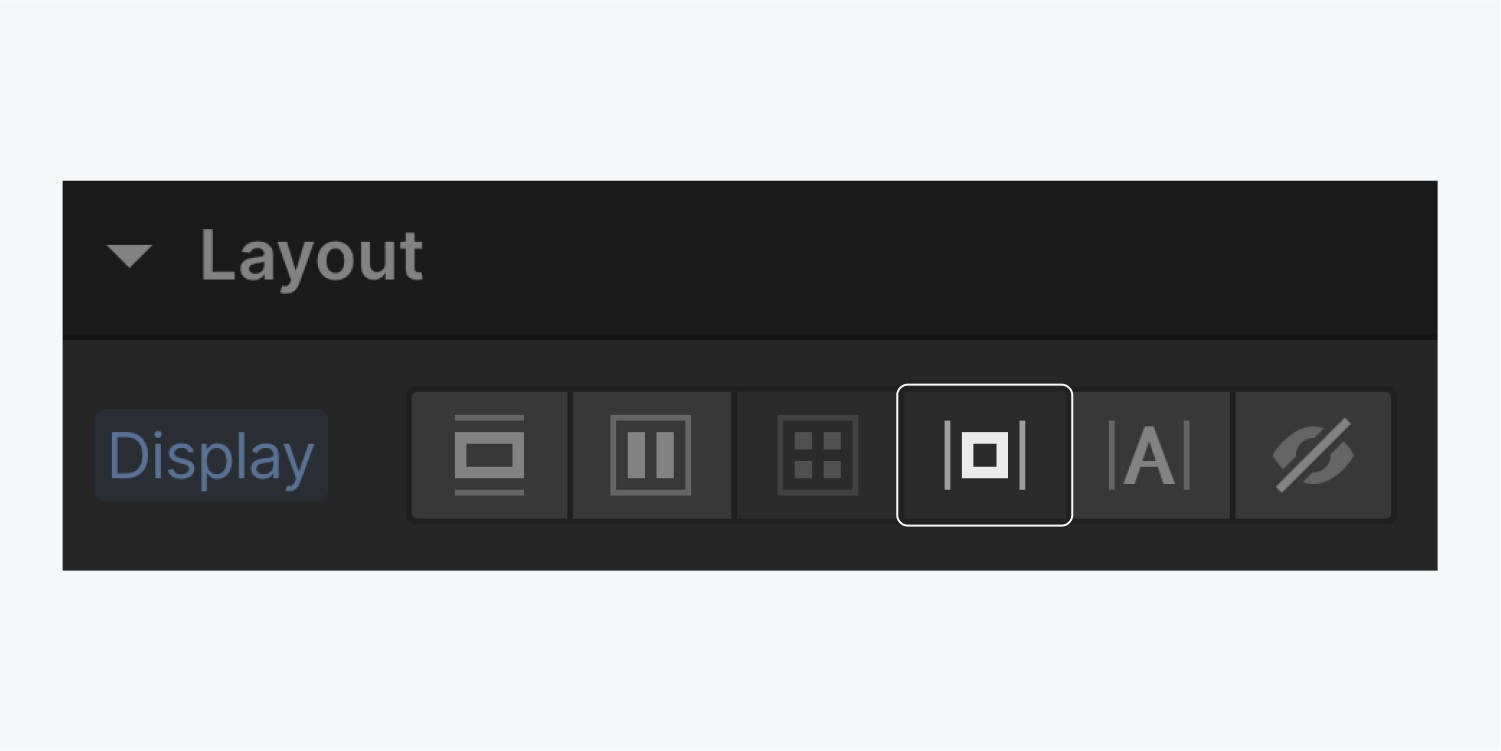The inline block button in the display settings is highlighted.