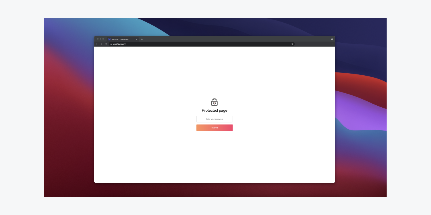 A chrome browser window displays the password protected page of a webflow.com page with a lock icon in the middle. There is a text input field and a submit button underneath the lock icon.