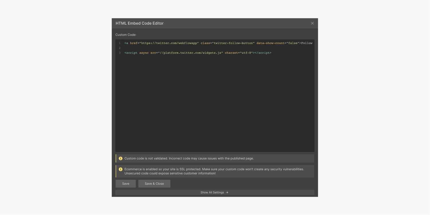 A HTML embed code editor includes 3 rows custom code, a save button and a save & close button.