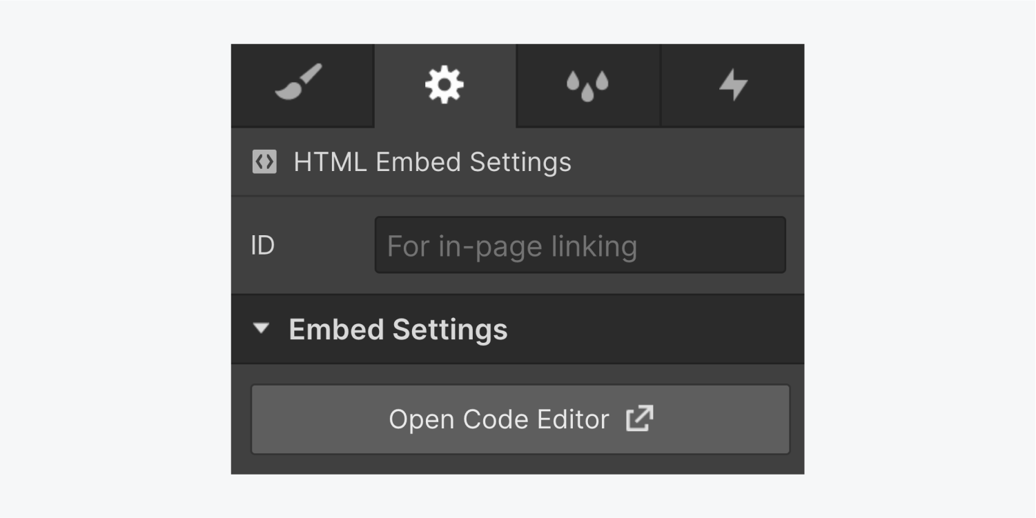 """The settings panel includes the HTML embed settings section. The HTML embed settings includes a text input field for an ID and a dropdown menu for embed settings with a """"open code editor"""" button."""