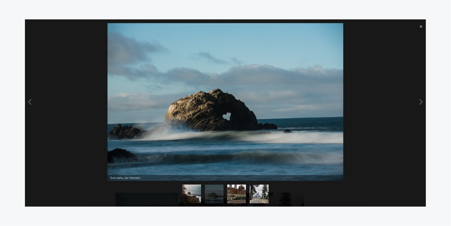 """A light box group containing four images is previewing an image of the Sutro baths, San Francisco. There is a caption added that reads """"Sutro baths, San Francisco"""""""