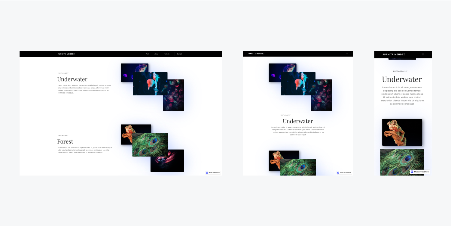 A website is displayed it in three responsive breakpoints. A desktop, tablet and mobile layouts are included.