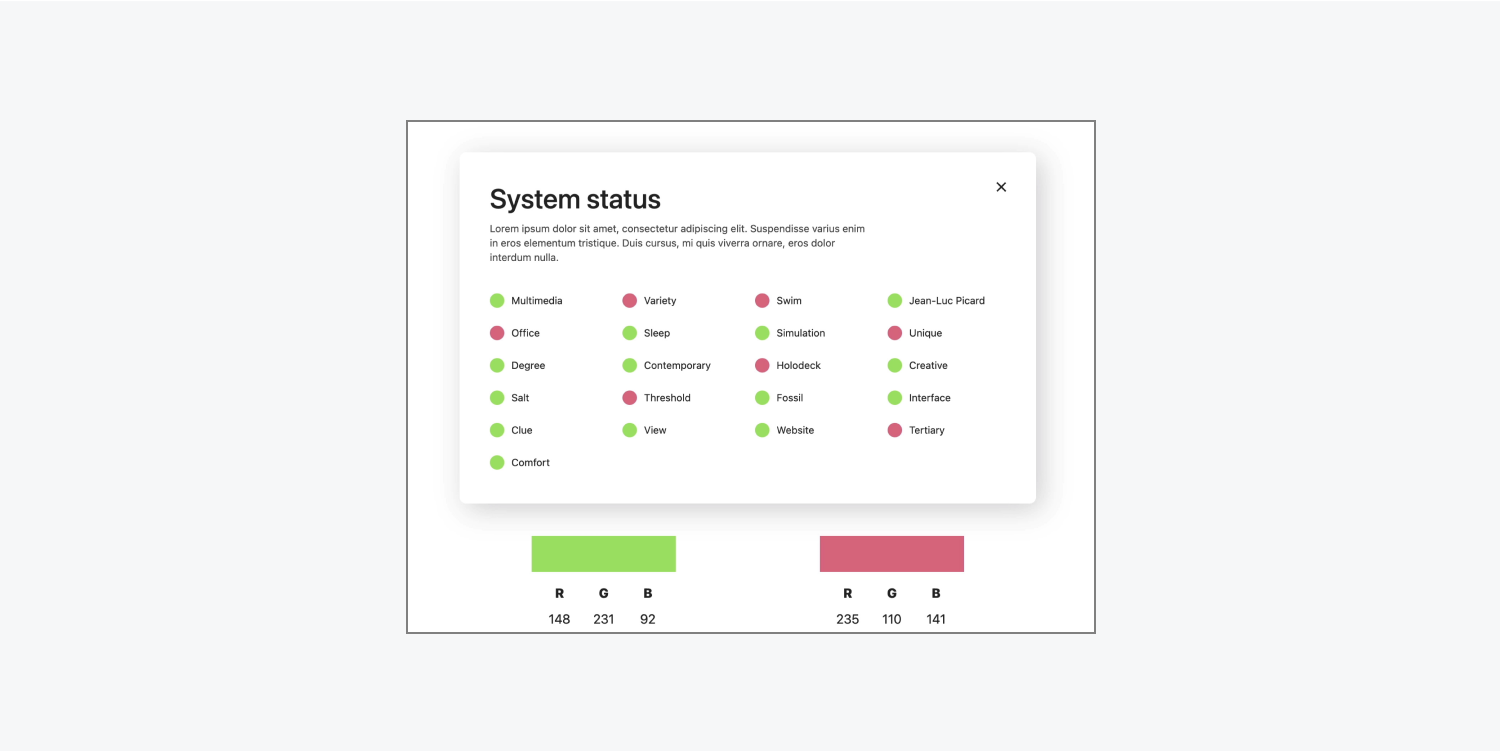 A sample user interface only uses color to indicate status, with green indicating functioning status and red indicating malfunctioning.