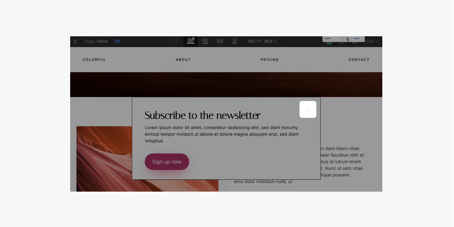 """A newsletter subscription call-to-action modal is highlighted with Blurred vision turned off. The tiny """"x"""" button to close the modal is very light and difficult to see."""