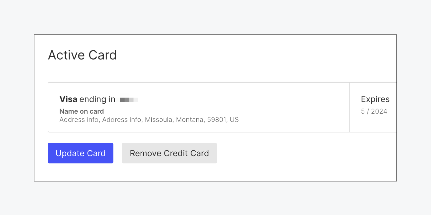 The Active Card section includes the type of card currently set up and its last four digits. The name on card, address information and expiration date is also included along with an Update Card button and Remove credit card button.