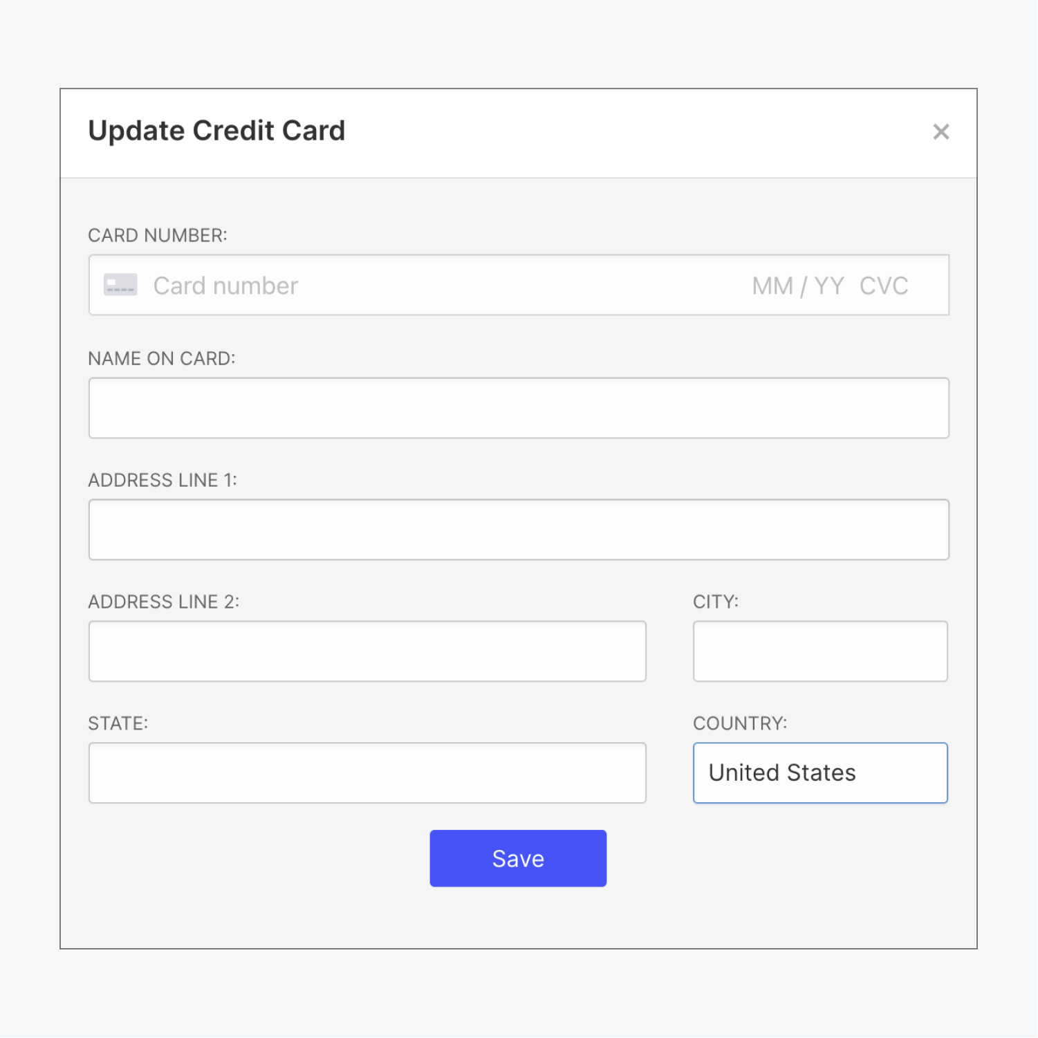 The update credit card pop-up modal is shown with sections to fill in card number, expiration, name on the card, and address details.