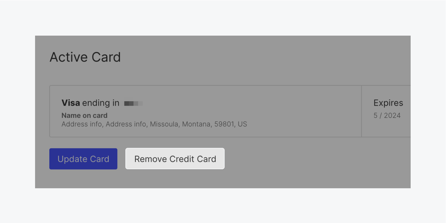 """An individual account's active card on file section is shown within account billing settings. The """"remove credit card"""" button is highlighted."""