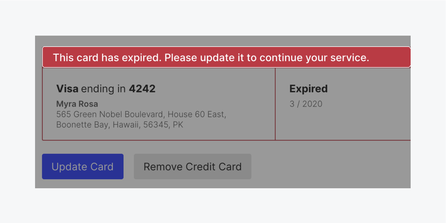 The active card on file displays a highlighted notification that the card has expired, and includes a reminder to update the card.