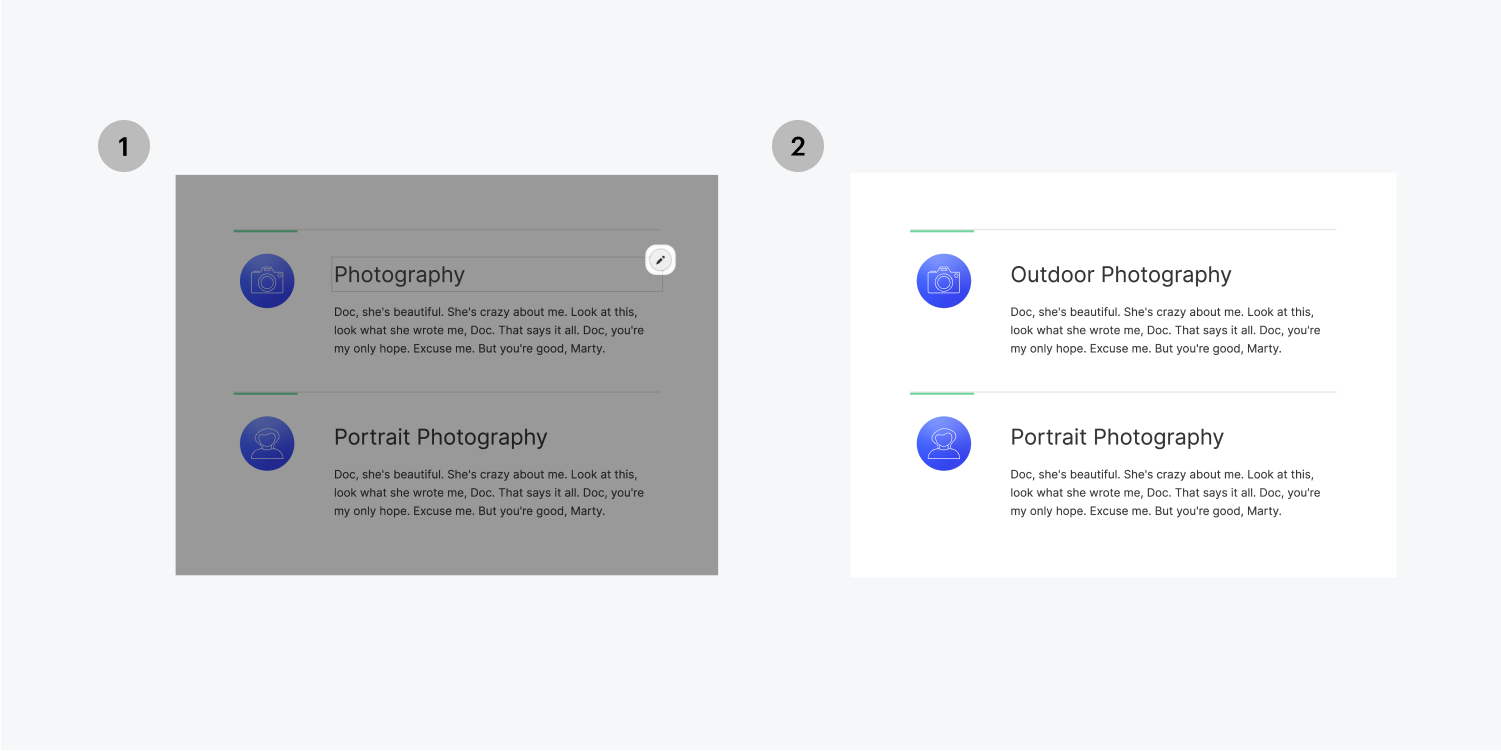 """Step one on the left, click on the edit icon on the right side of the text box. Step two on the right, add the word """"Outdoor"""" in front of Photography."""