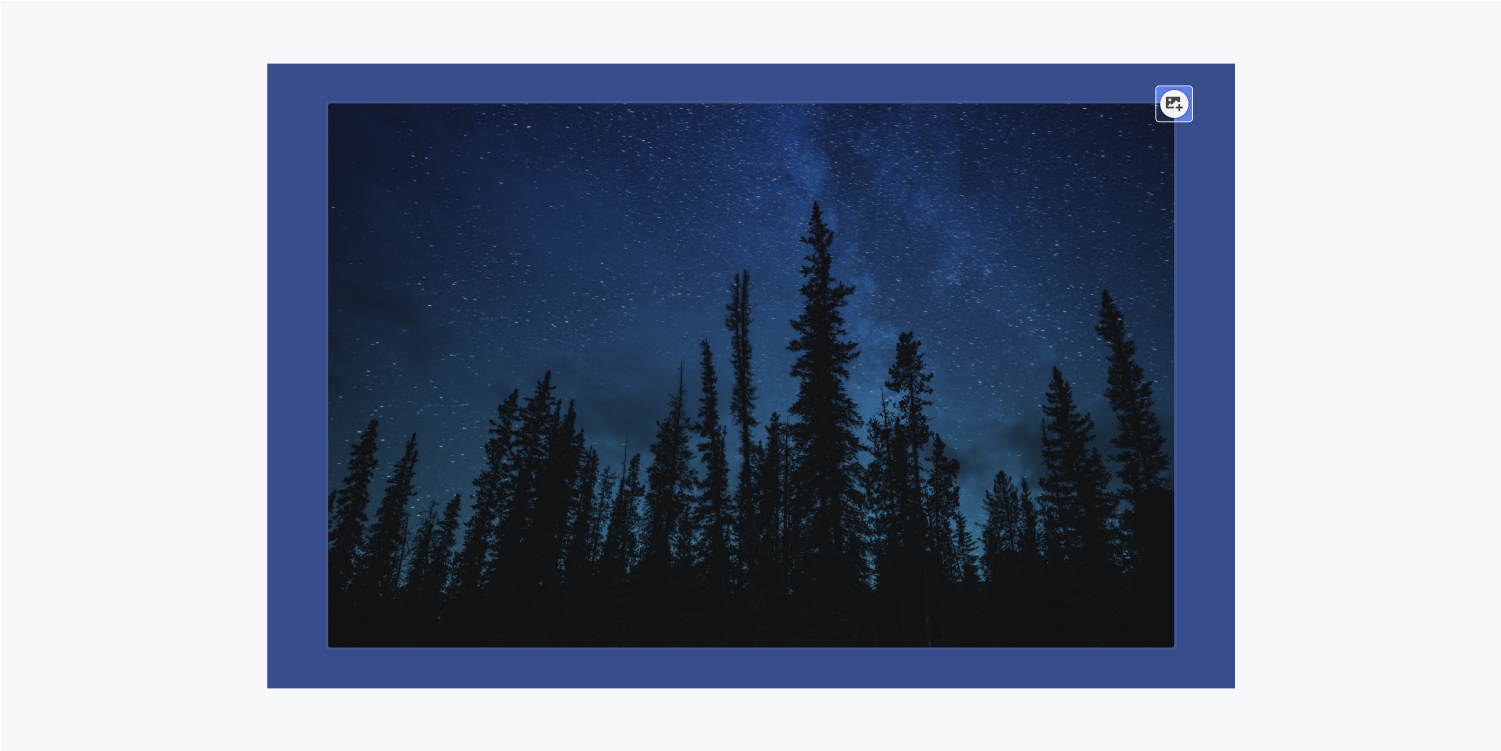 An image of a night sky full of stars has an edit icon on the top-right corner.