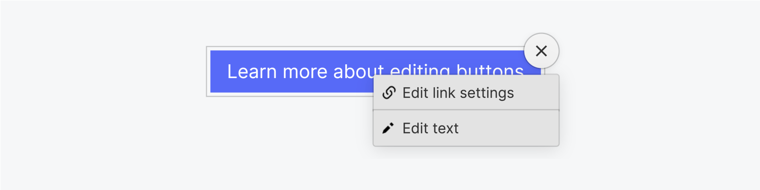 The edit button drop down menu includes two options: edit link settings and edit text.
