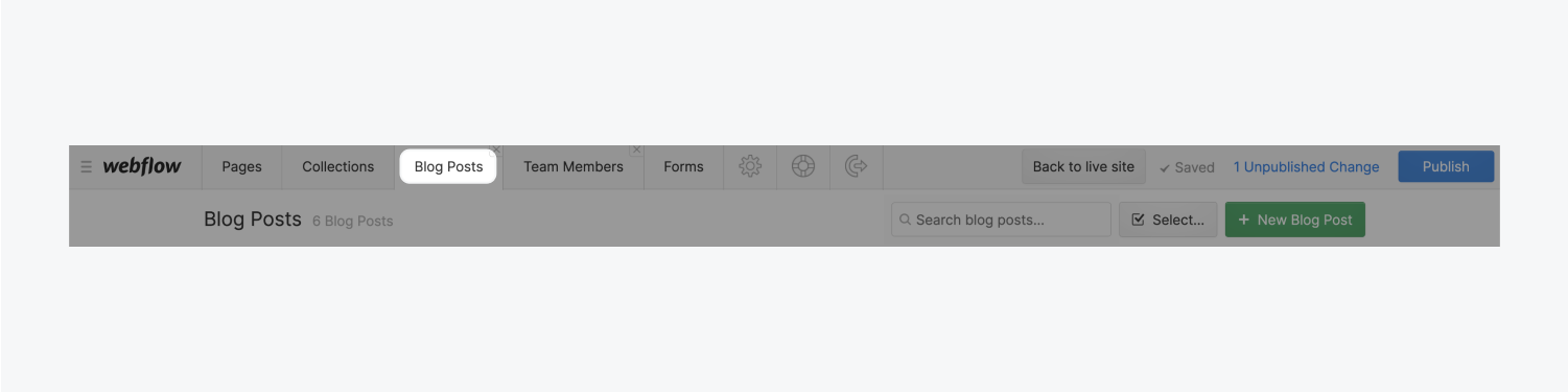 A new tab called Blog Posts has been added to the tabs section in the editors toolbar. This tab is highlighted among the other five tabs.