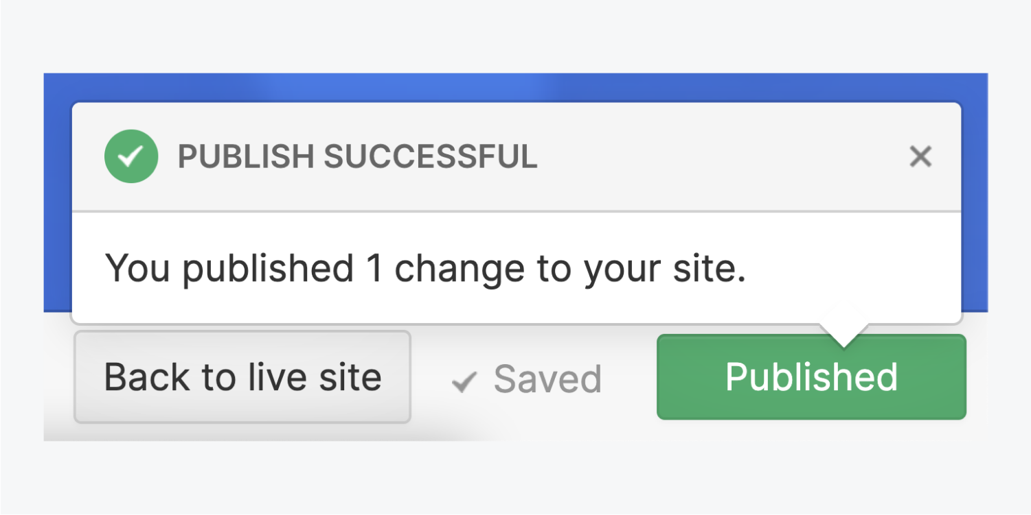 """The green Published button has been clicked and a notice has appeared saying Publish successful and """"You published 1 change to your site."""" There is a check mark indicating the changes have been saved next to the Back to live site button."""