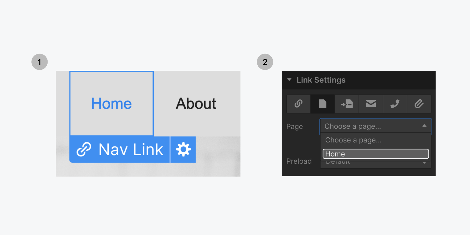 Step one on the left, select a link element. Step two on the right, select the home page from the link settings page drop down menu to link the element to the home page..