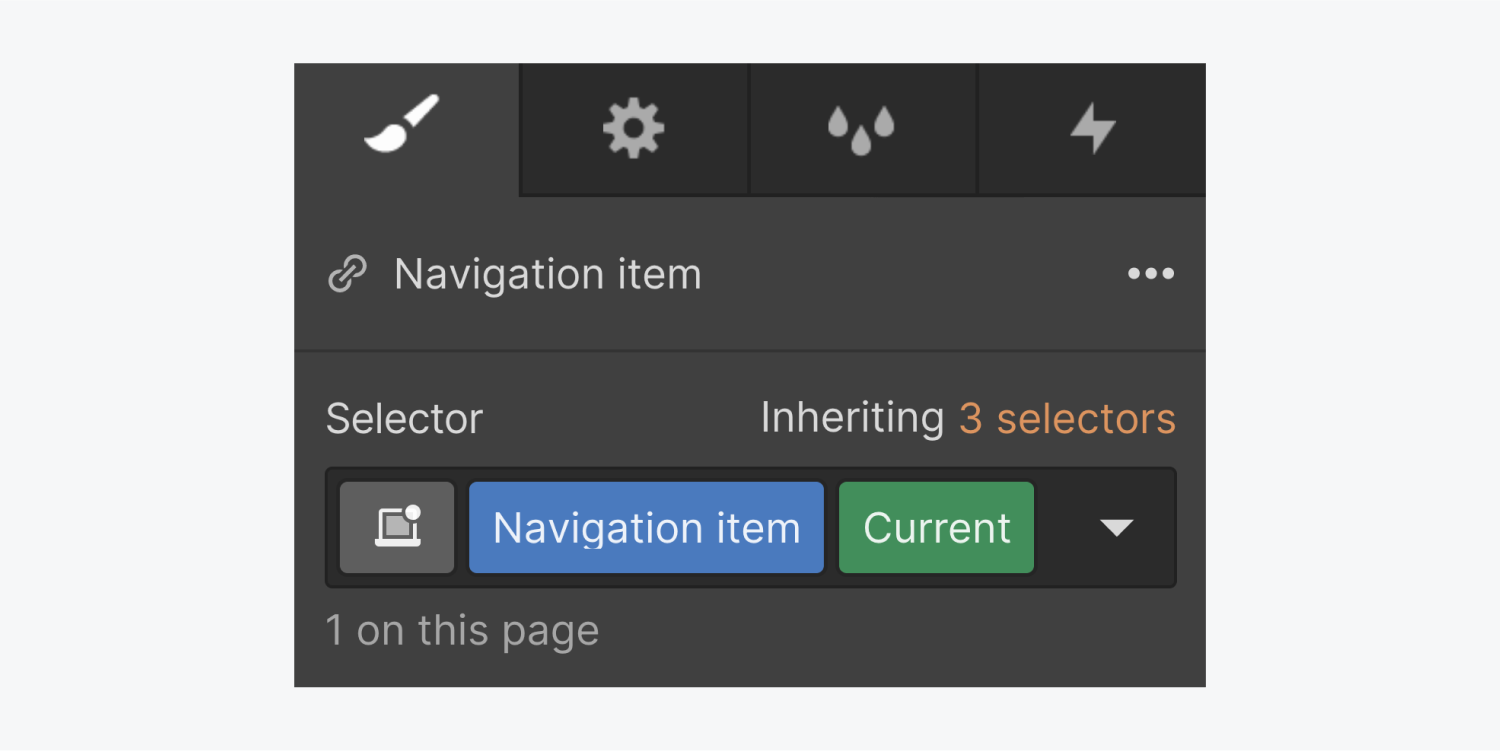 A navigation link called navigation item includes a current state in the selector section inheriting three selectors.