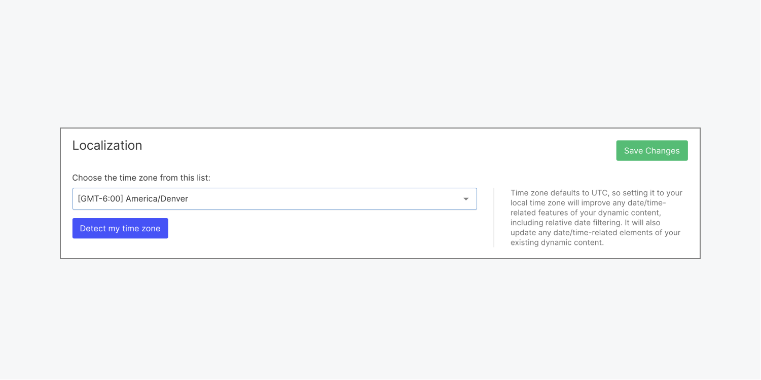 The time zone selection in the Localization section of a Webflow project's General settings tab is pictured.
