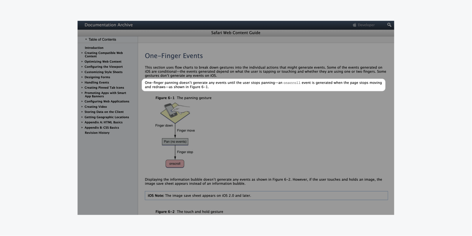 """The Apple developer library includes a one-finger event section within the Safari Web Content Guide. The text """"one-finger panning doesn't generate any events until the user stops panning—an onscroll event is generated when the page stops moving and redraws—as shown in figure 6-1."""" is highlighted on the page."""