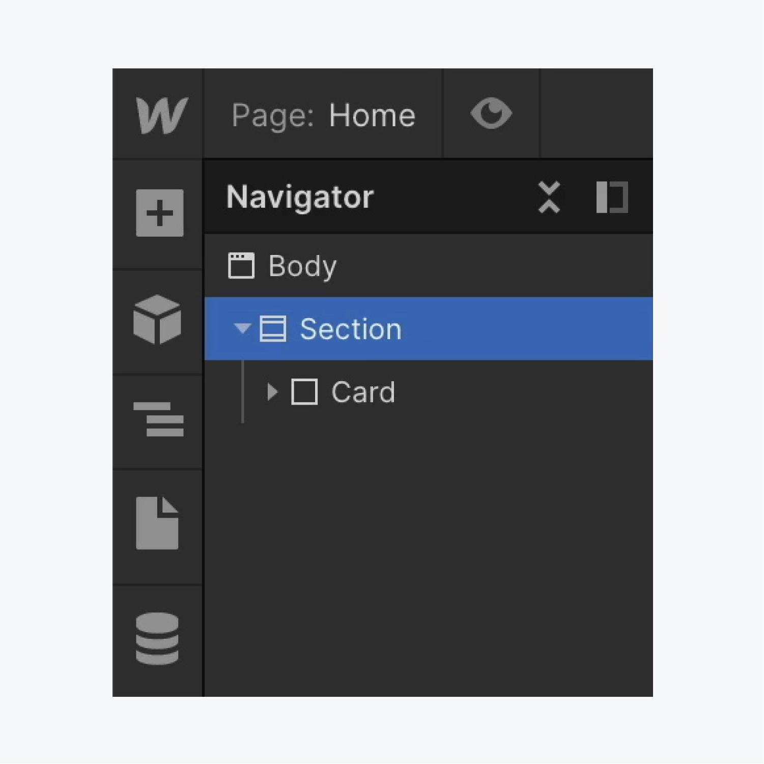 A Section is selected in the Webflow Navigator.