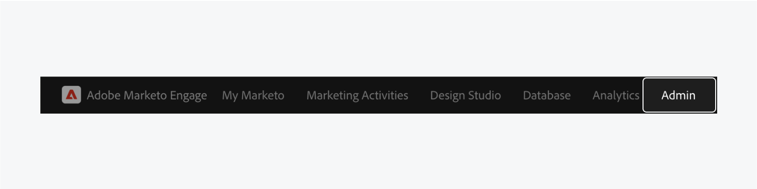 """Marketo's """"Admin"""" button is highlighted."""