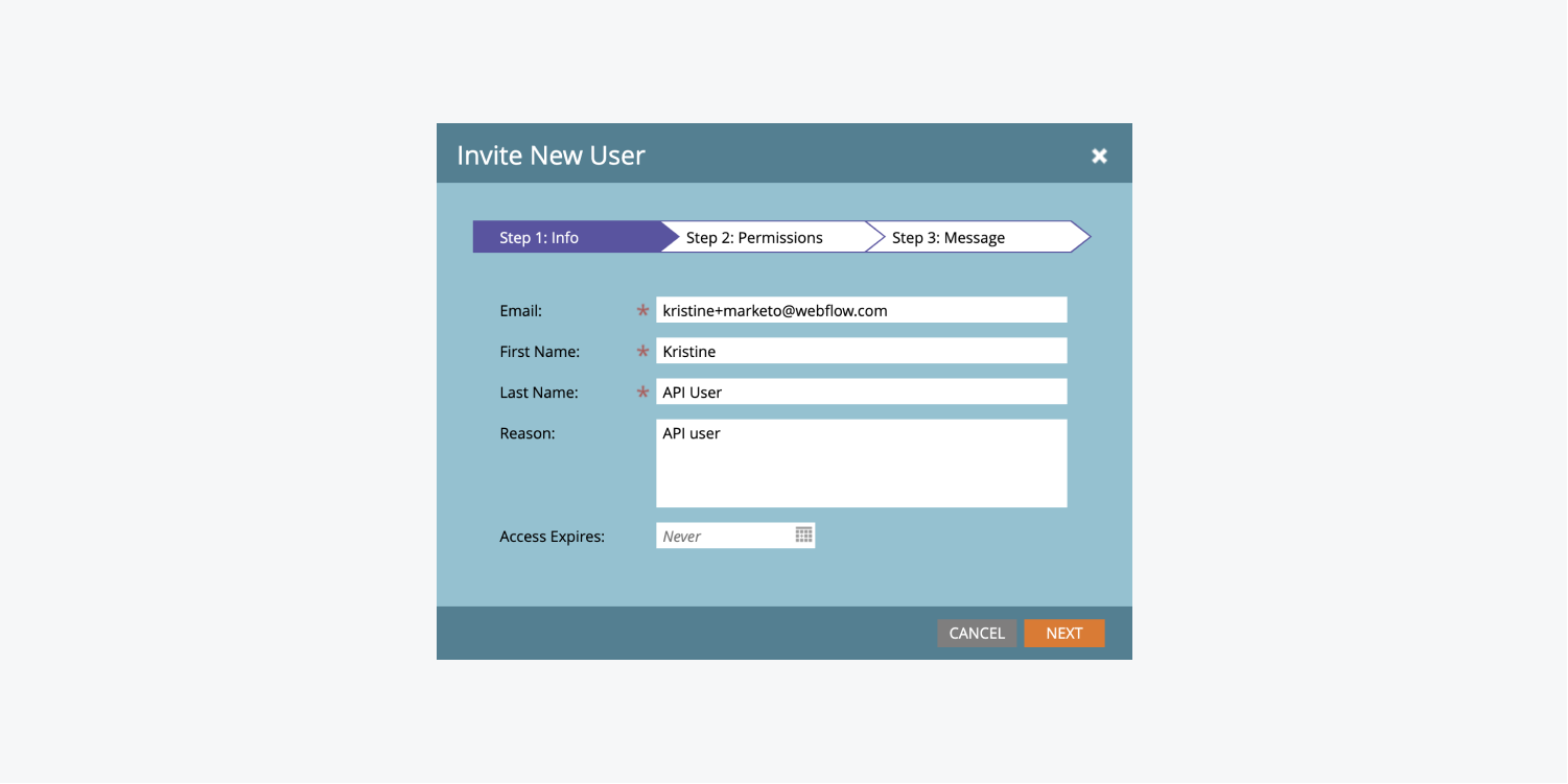 """Step 1 of Marketo's """"Invite New User"""" modal displays fields to enter an email address, first and last names and a reason."""