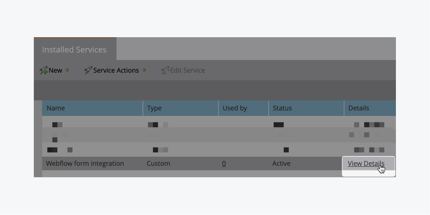 """The """"View details"""" link of a Marketo installed service is highlighted."""