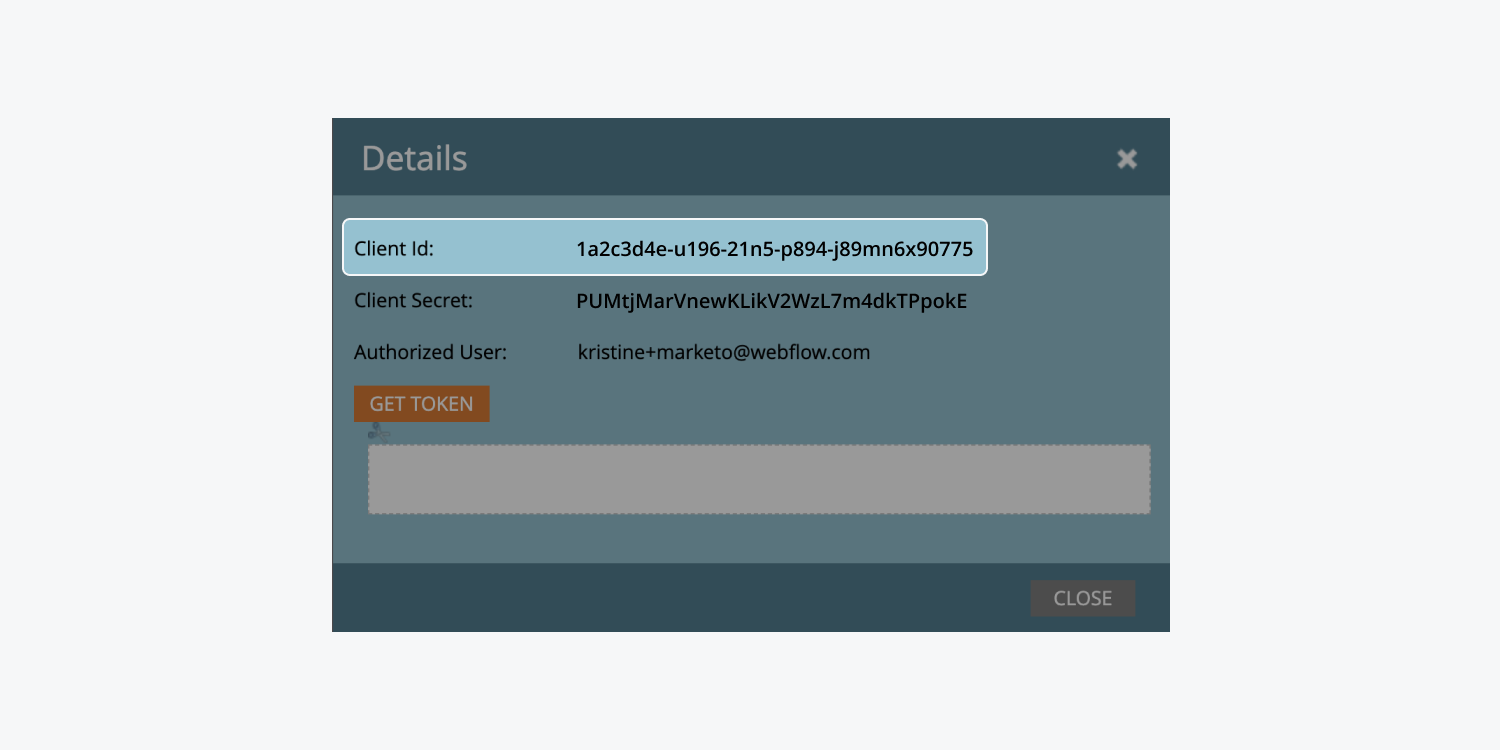 """Marketo's """"Details"""" modal of an installed service shows the """"Client ID"""" highlighted."""