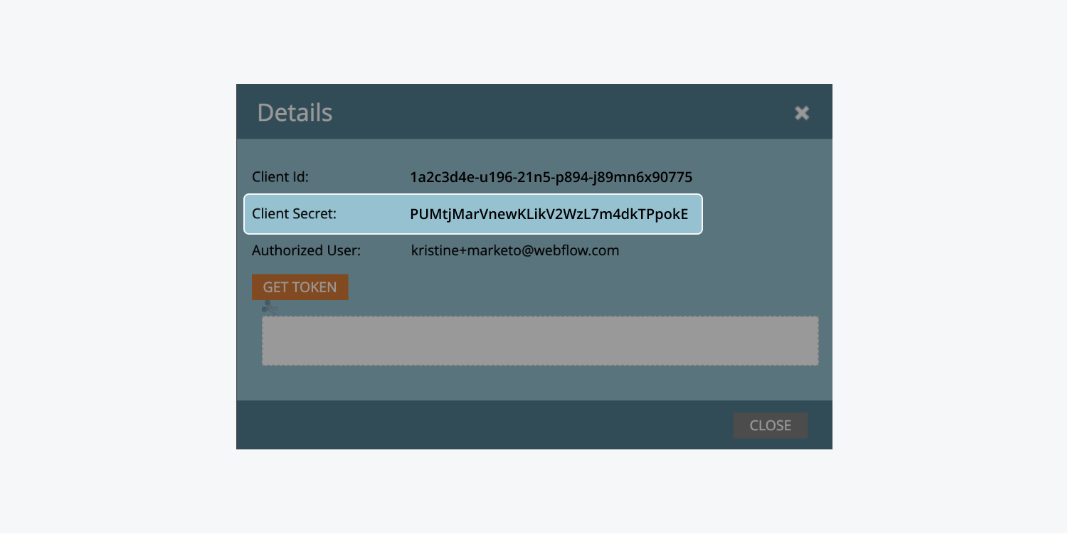 """Marketo's """"Details"""" modal of an installed service shows the """"Client Secret"""" highlighted."""