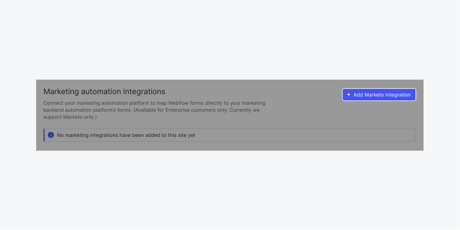 """Webflow's """"Add Marketo integration"""" button is highlighted in the Marketing automation integrations section of a team's Integrations tab."""