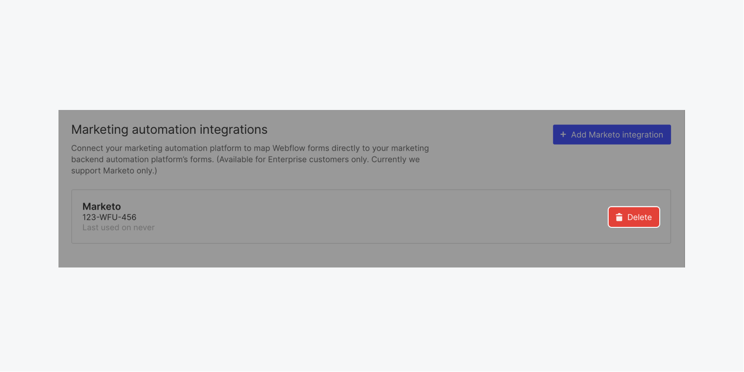 """A """"Delete"""" button is highlighted in the Marketing automation integrations section to illustrate how to delete a Marketo integration."""