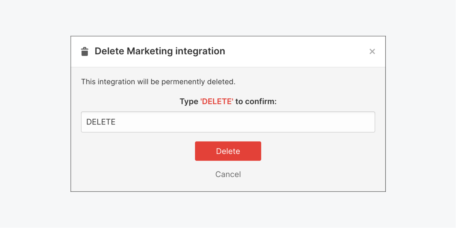 """The """"Delete Marketing integration"""" modal appears after pressing the delete button."""