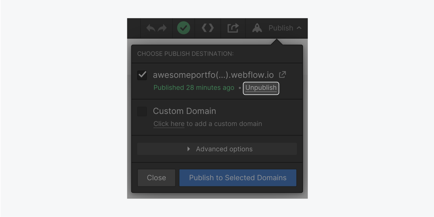 The publish modal window in the Designer includes a Unpublish button (highighted) under the domain address.