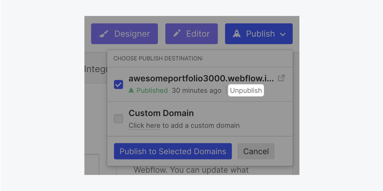 The Publish modal window includes a Unpublish button (highlighted) under the domain address and next to the time stamp of when it was published.
