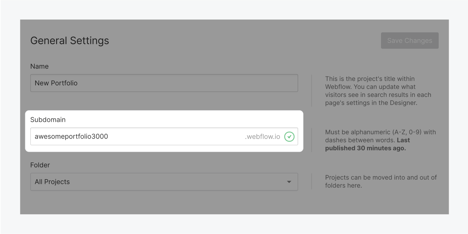 The subdomain input field is highlighted in the General settings section of the Project Settings page. The subdomain is filled out with the address awesomeportfolio3000.webflow.io