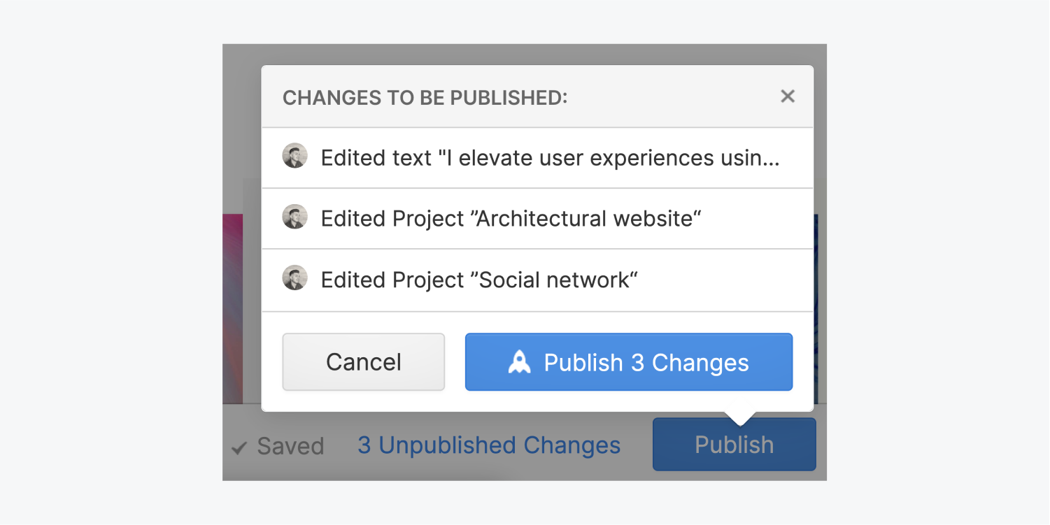 The publish preview includes three changes that have been made through the Editor, a cancel button and a Publish 3 changes button.