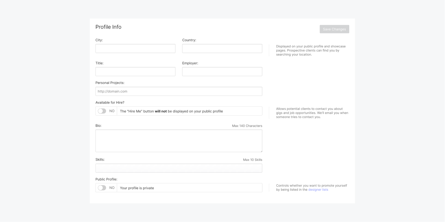 The profile info section includes input fields for city, country, title, employer, personal project domain address, an available for hire switch, bio, skills and a Public Profile switch.