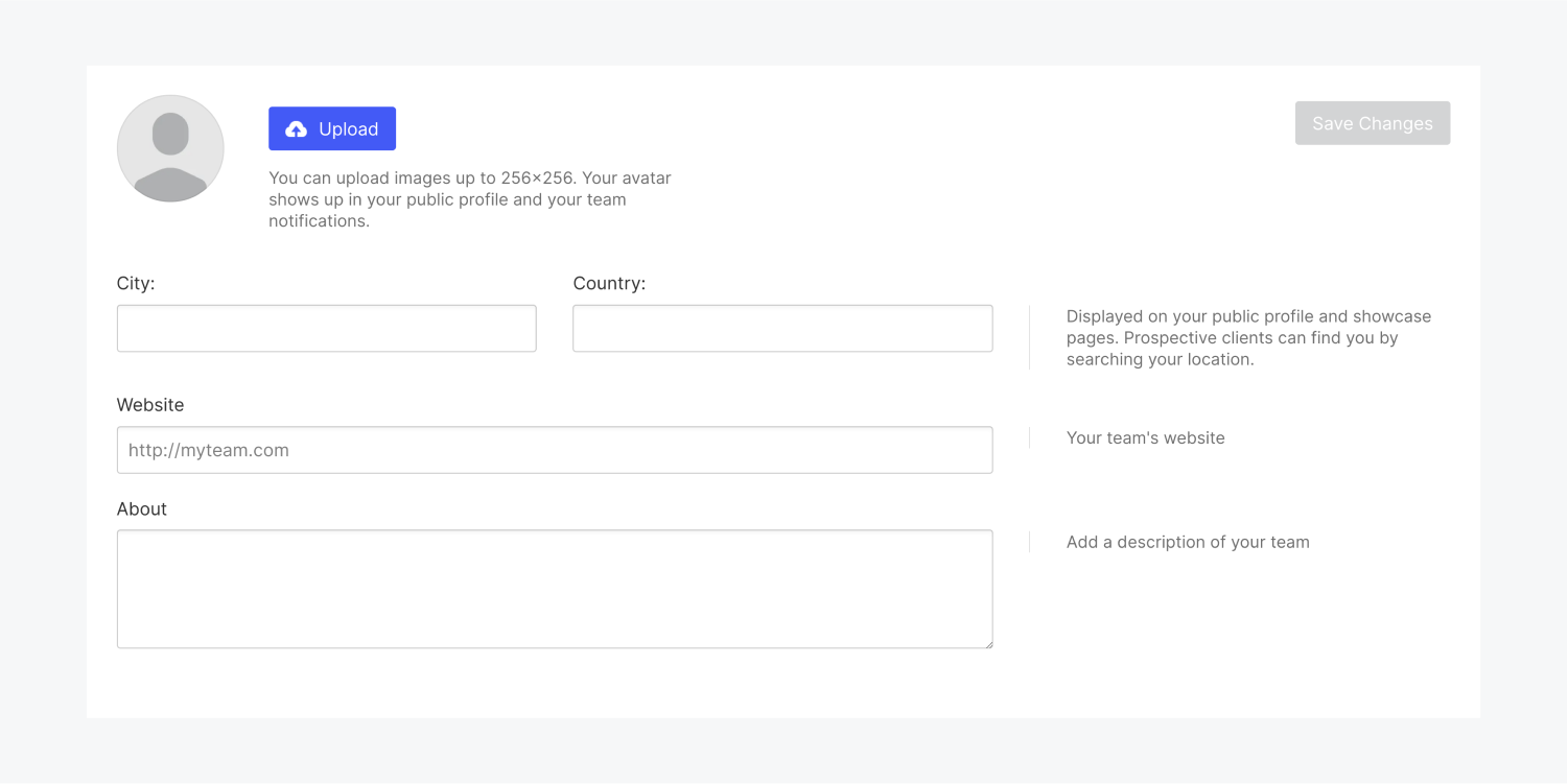 The profile details sections includes an avatar and avatar upload button, input fields for city, country, website url and an about section.