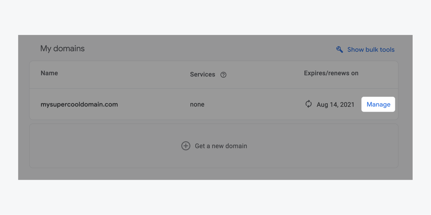 """The manage button for a domain named mysupercooldomain.com is highlighted in the My Domains section of the DNS settings. It includes """"none"""" services and expires/renews on Aug 14, 2021."""