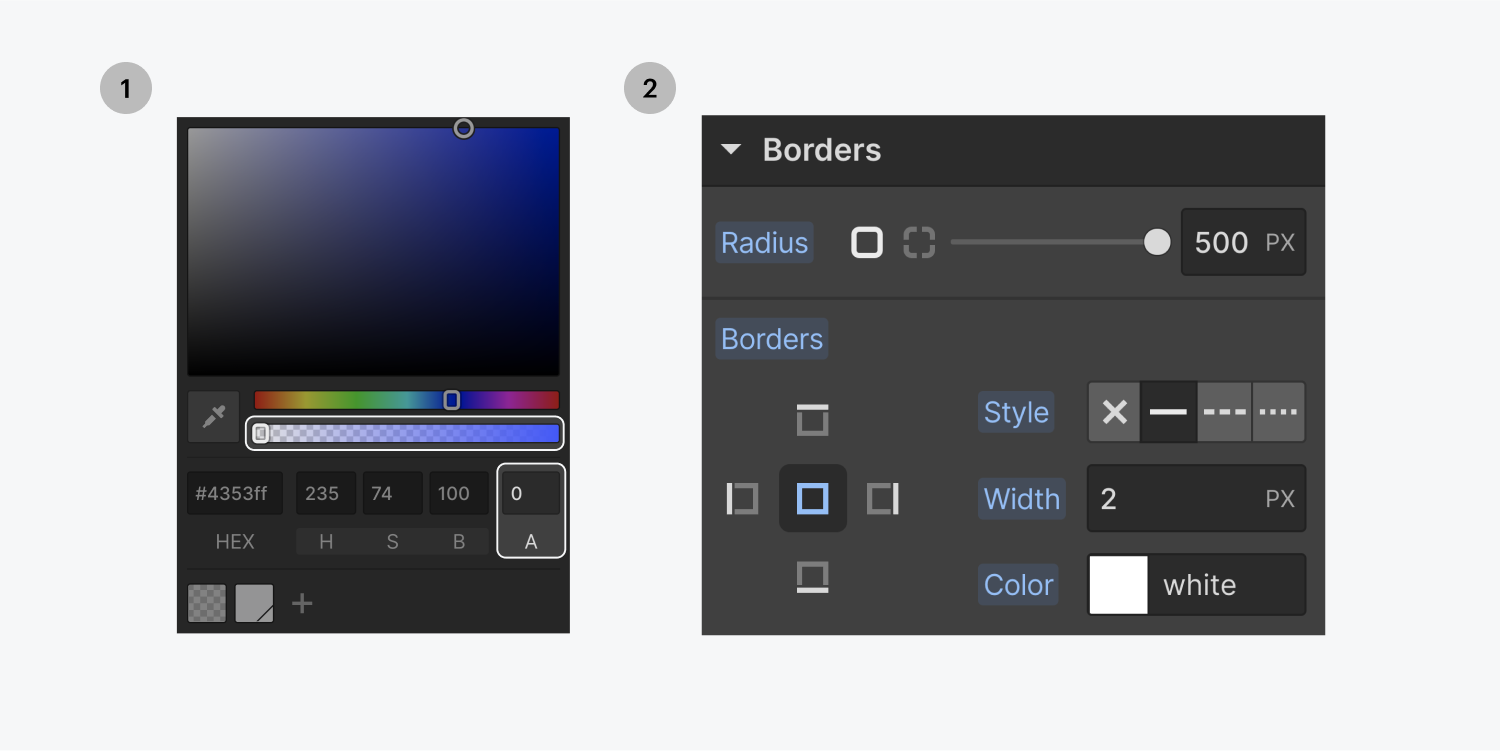 Step one on the left, the background color opacity is set to 0%. The transparency slider and Alpha input field are highlighted on the color picker modal window. Step two on the right, a border is added to the button element with a 500 pixel radius, 2 pixel width and the color white on the borders settings panel.