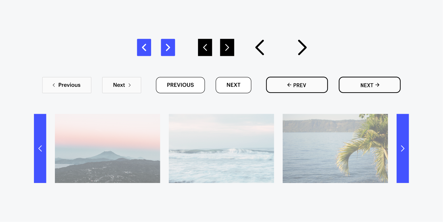 Different versions of stylized pagination buttons are laid out to show the types of customizations a user can produce. Blue buttons with directional arrows, buttons with the words previous and next and a slider with preview images of El Salvador are all included.