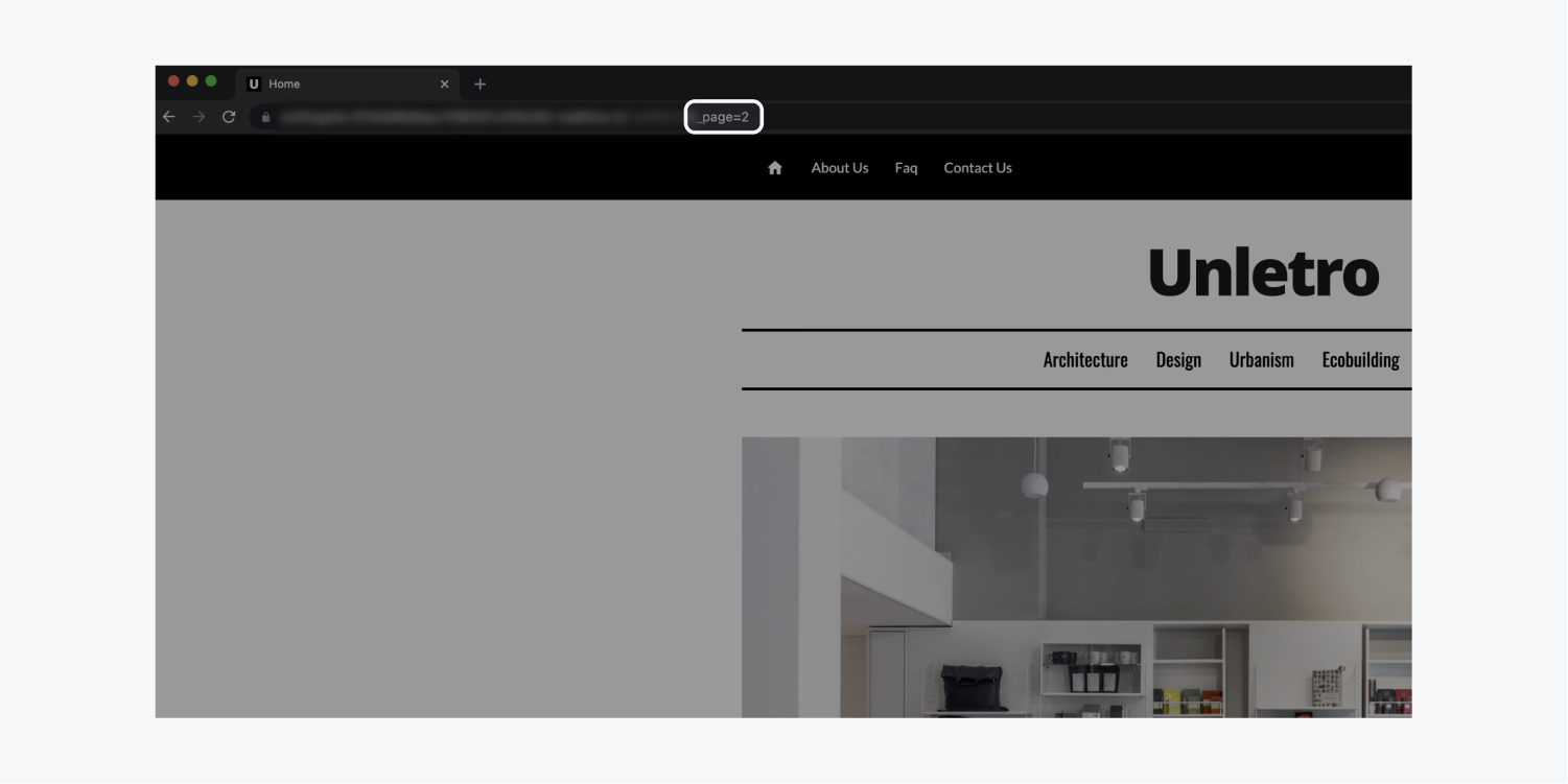 The _page=2 text of the URL is highlighted on a chrome window of the homepage of a architectural website called Unletro