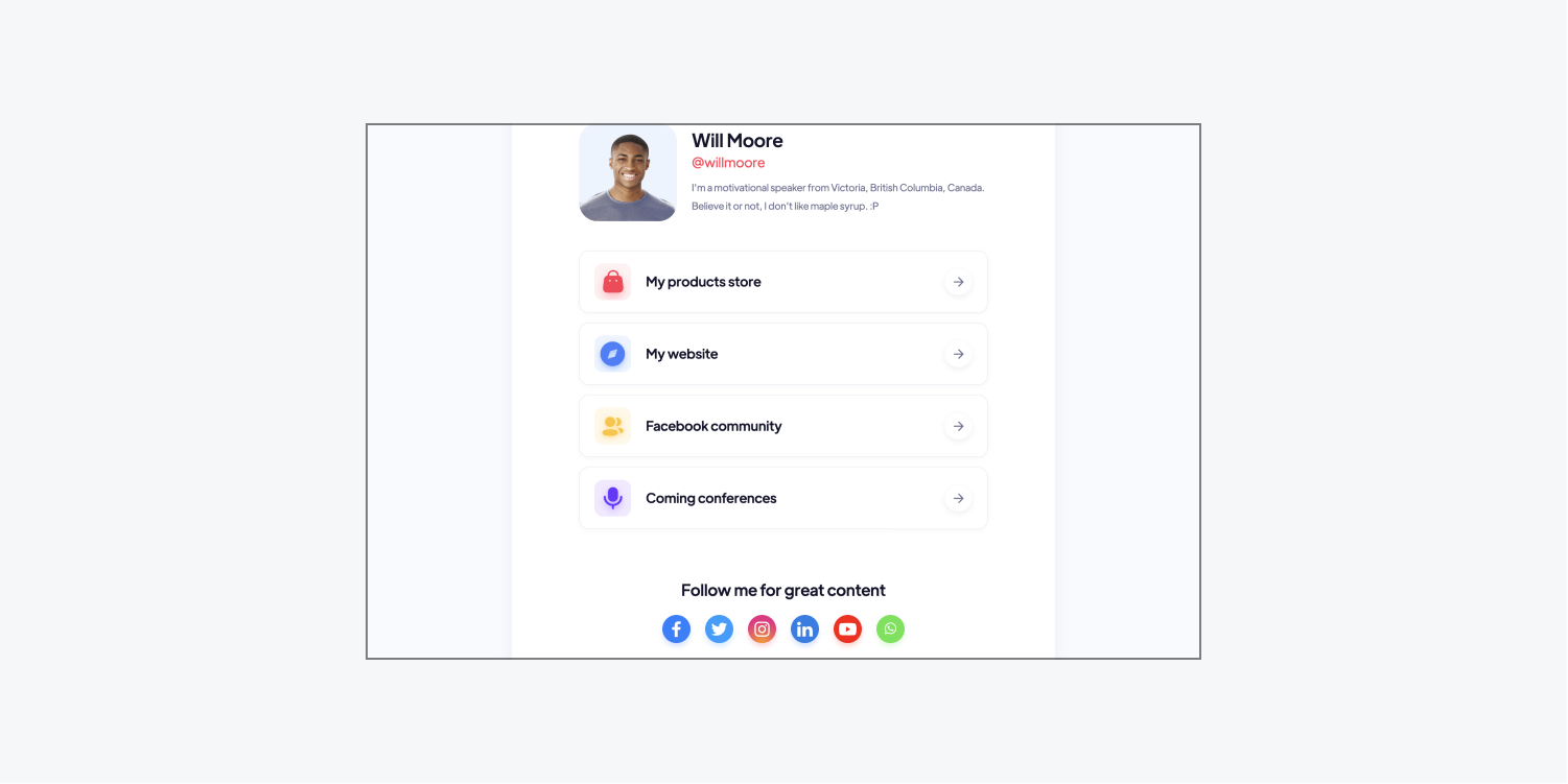 A customizable Webflow template for creators displays a profile picture, a bio, and links to the creator's store, website, social media, and conferences.