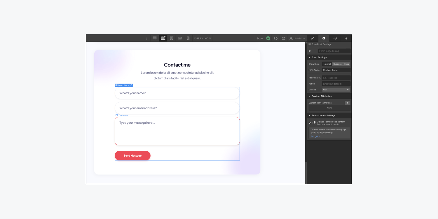 A contact form is selected on the Webflow Designer canvas and the Settings panel is open where form settings can be updated.