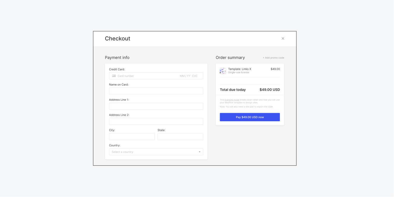 Webflow's template checkout modal