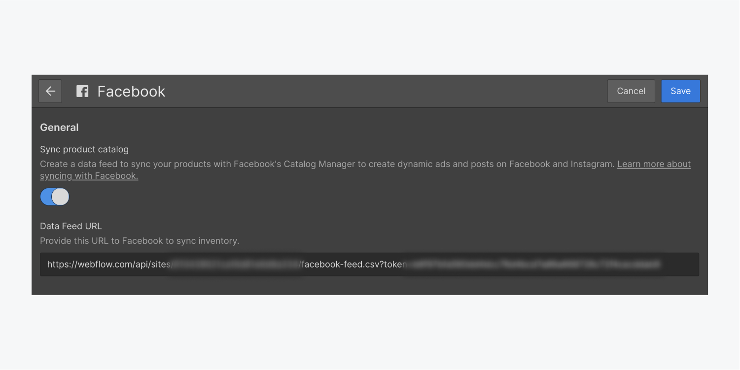 The Facebook sync switch button is turned on and there is a Data feed URL field filled out. At the top right of the corner there are two buttons for cancel and save.