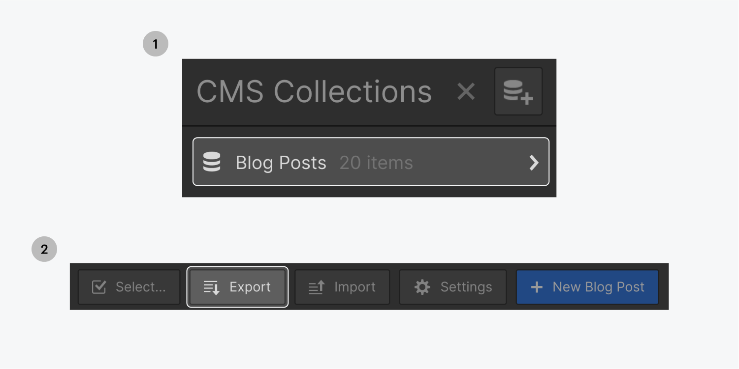 Step one on the top, click the highlighted Blog Posts collection from the CMS Collections panel. Step two on the bottom, click on the highlighted Export button from the CMS Collections toolbar.