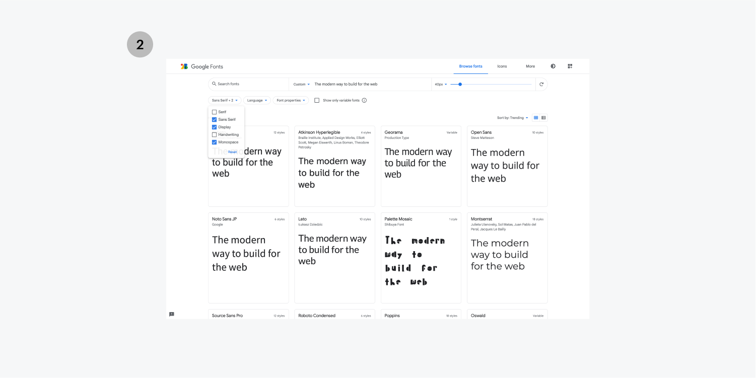 """Step two is to filter your font search with categories. The Google Fonts page is displayed with several font examples displaying """"The modern way to build for the web."""""""