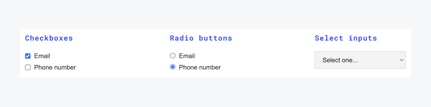 """Examples for Checkboxes, Radio buttons and Select inputs are laid out in three columns. There are two options for each, email and phone number. The select input is showing the dropdown menu collapsed with text """"select one..."""""""