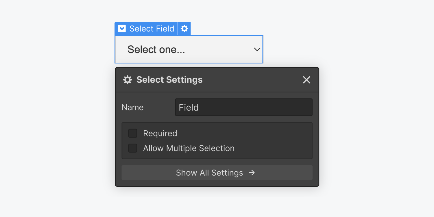 A Select Field element is selected and displaying the settings panel. The Select settings panel includes a name input field, and two checkbox options for Required and Allow Multiple Selection. There is also a show all settings button at the bottom of the panel.