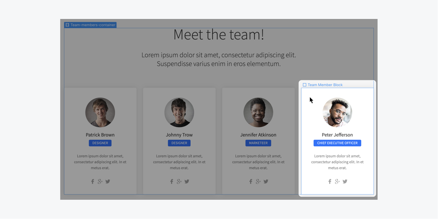 A team member profile card is highlighted on a project canvas. The users cursor is hovering over an element called Team Member Block. There is a blue outline surrounding the element to show it is going to be selected.