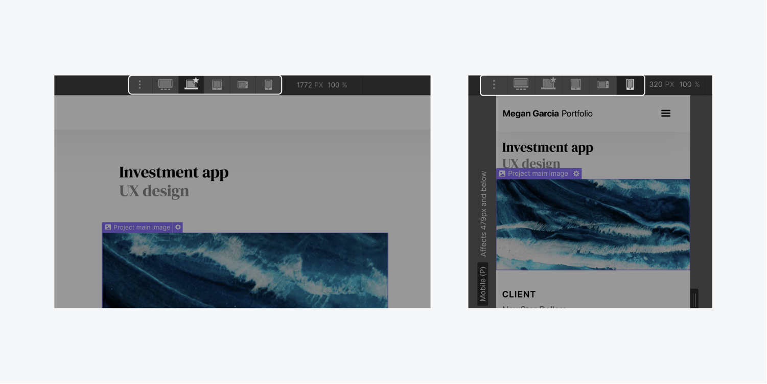 On the left, the desktop breakpoint is selected and showing the website layout. On the right, the mobile portrait displays how the website elements would adjust.